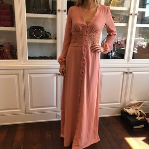 Boohoo dusty rose lace maxi dress